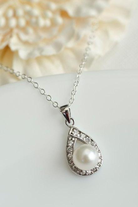 Bridal Necklace, Akoya Pearl and Cubic Zirconia Bridal Necklace, Pearl Pendant