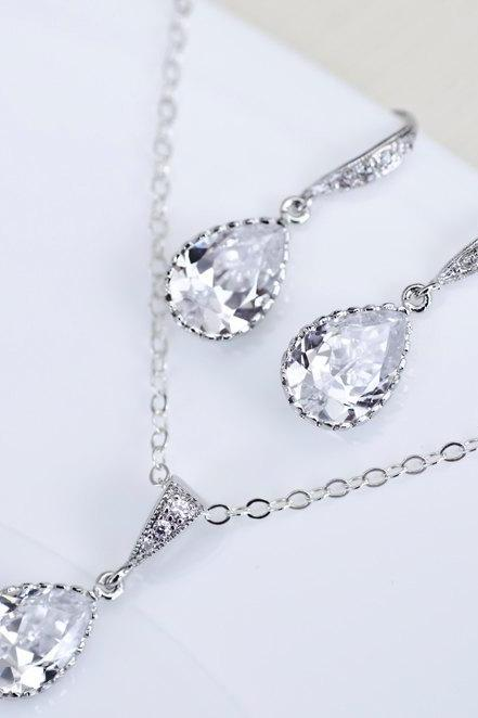 Bridal Earrings Bridal Necklace Clear White Cubic Zirconia Teardrops Bridal Jewelry Set
