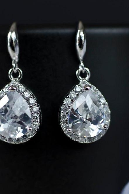 Bridal Earrings, Bridesmaid Earrings Sterling Silver Earwires and Cubic Zirconia Crystal Tear Drops