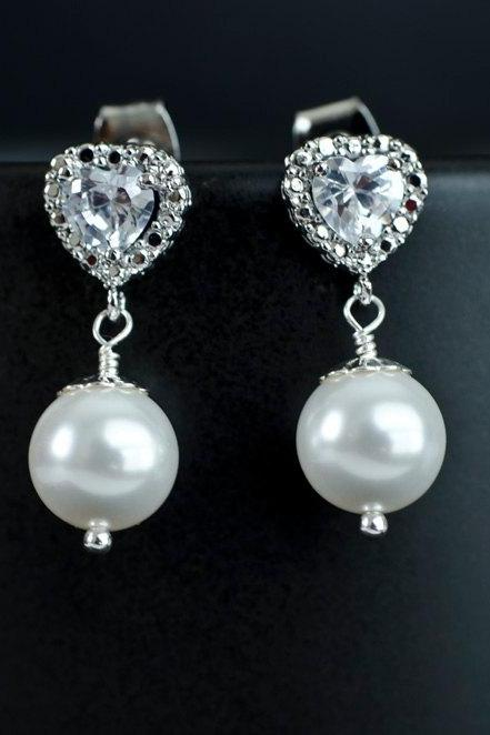 Bridal Earrings Cubic Zirconia Heart Shape Ear Posts and 8mm White/Ivory Swarovski Pearls, Bridesmaids Gift