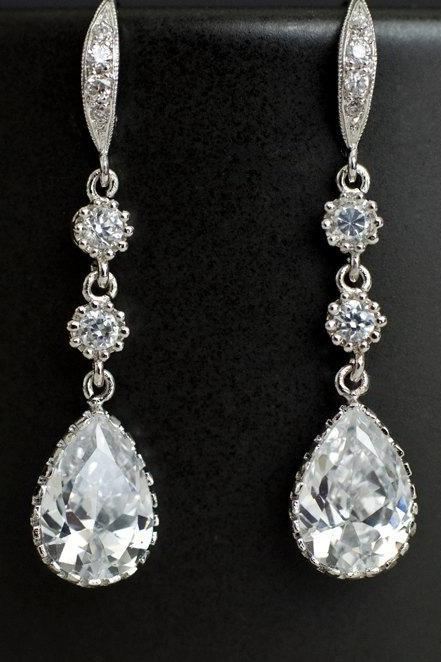 Bridal Earrings Cubic Zirconia Earwires, Cubic Zirconia Connectors and Teardrop Bridal Earrings, Cubic Zirconia Silver Wedding Jewelry