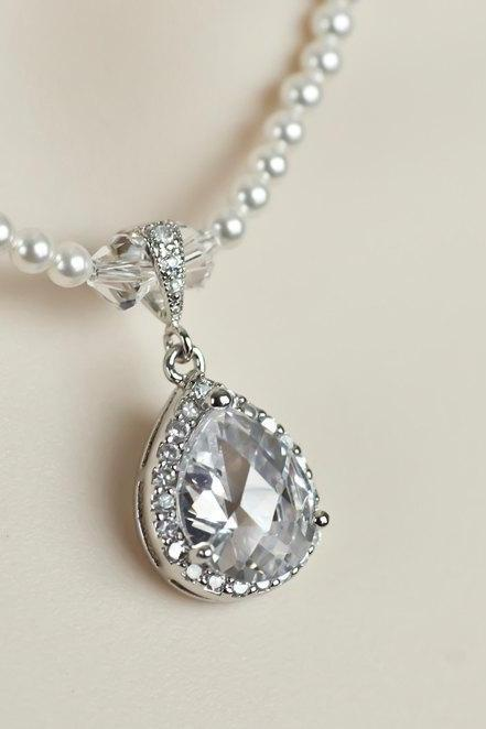 Bridal Necklace, Rhinestone Necklace White/Ivory Swarovski Pearl Necklace With Cubic Zirconia Large Teardrop