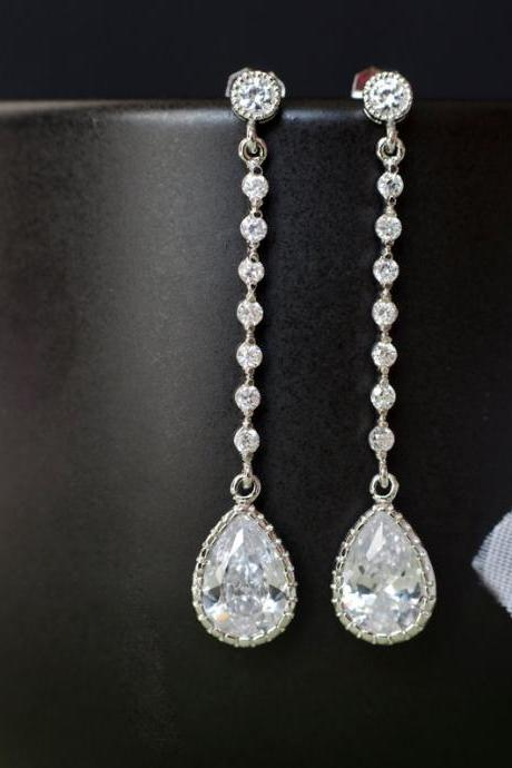 Bridal Earrings, Bridesmaids Earrings, Cubic Zirconia Bridal Earrings, Long Cubic Zirconia Connector and Teardrops,