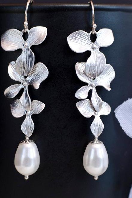 Bridal Pearl Earrings Triple Orchid and White/Ivory Swarovski Pearls Earrings