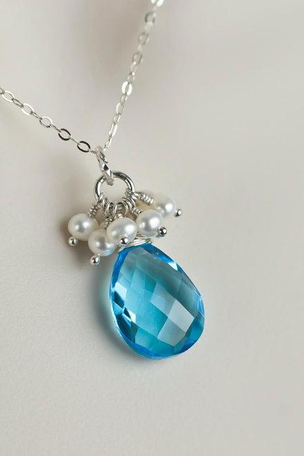 Bridesmaids Necklace, Apatite Blue Quartz and Freshwater Pearls Cluster Sterling Silver Necklace