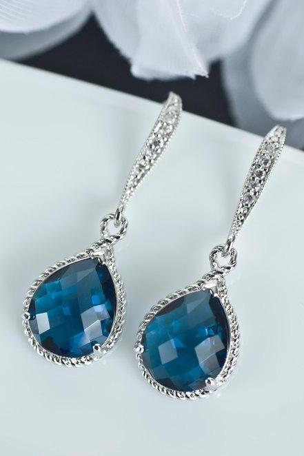 Sapphire Earrings, Blue Sapphire Bridesmaids Earrings, Blue Sapphire Teardrop Glass and Cubic Zirconia Earwires