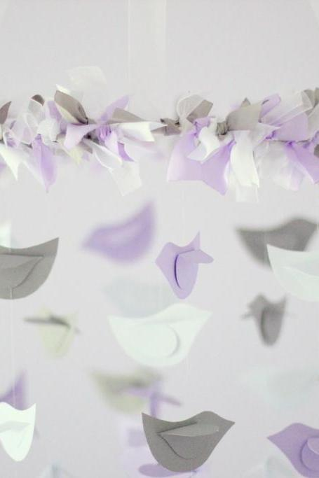 Lavender, Gray & White Bird Mobile