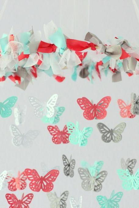 Coral, Aqua, Gray & White Butterfly Nursery Mobile