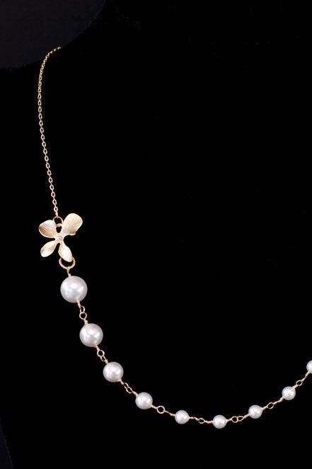 Bridal Necklace, Bridal Pearl Necklace, Orchid and Pearl Necklace,Bridal, Bridesmaids Necklace,Wedding, Bridal Jewelry