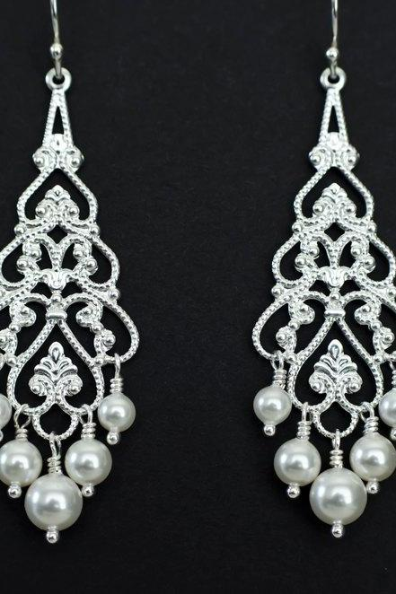 Bridal Chandelier Earrings - Pearl Chandelier Earrings, Silver Filigree and White/Ivory Swarovski Pearls