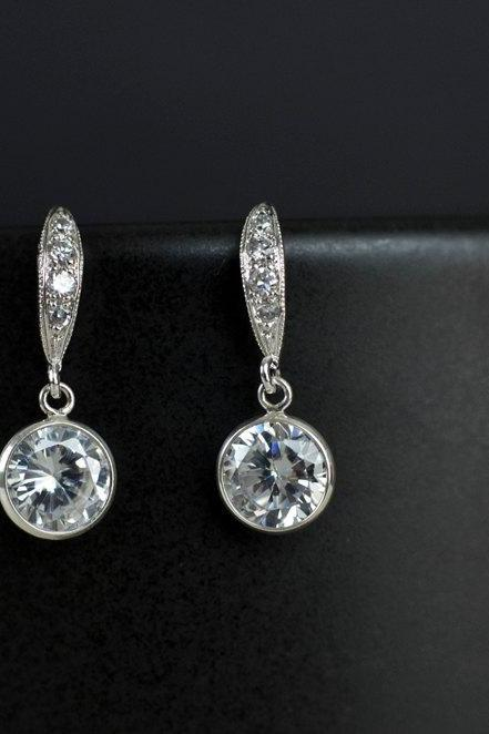 Bridal Earrings, Bridesmaid Earrings Cubic Zirconia Earwires and Cubic Zirconia Crystal Round Bezel Earrings