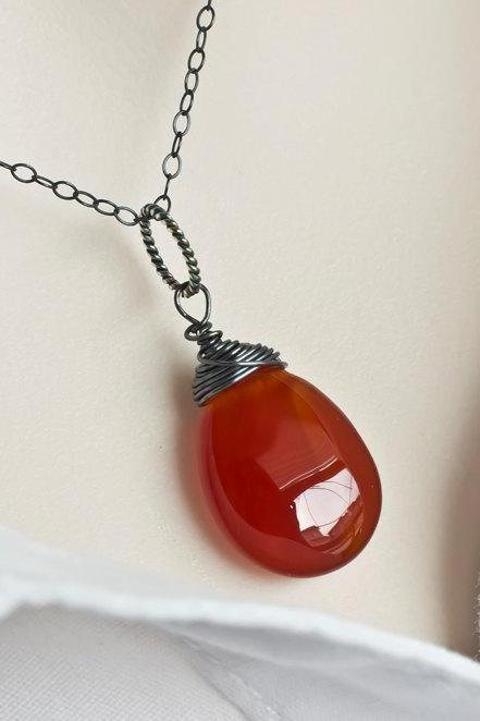 Jade Necklace, Red Jade Teardrop Necklace, Red Jade Oxidized Sterling Silver Necklace, Modern Oxidized Silver Necklace