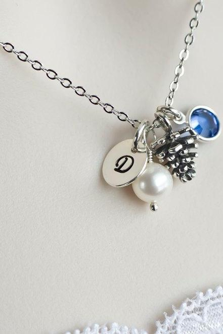 Pine Cone Necklace - Initial, Swarowski Birtstone , Silver Pinecone Charm - Personalized Necklace - Hand Stamped Sterling Letter Charm