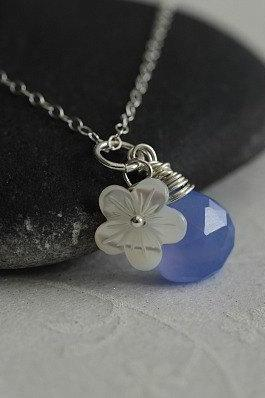 Hydrangea Blue Periwinkle Chalcedony Heart Briolette, White Mother of Pearl Flower and Sterling Silver Necklace