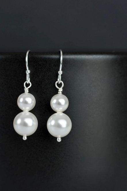 Bridal Pearl Earrings, Duo Swarovski Pearl on Sterling Silver Earrings, Bridal Earrings, Bridesmaids Gift