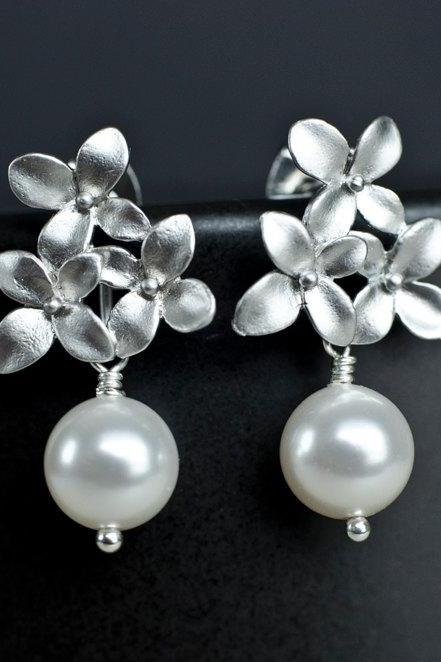 Bridal Earrings, Silver Cherry Blossom Earrings with White/Ivory 8mm Swarovski Pearl .925 Sterling Silver Earring Post. Wedding Jewellery