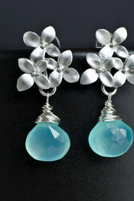 Aqua Blue Chalcedony Earrings, Silver Cherry Blossom Earrings .925 Sterling Silver Earring Post
