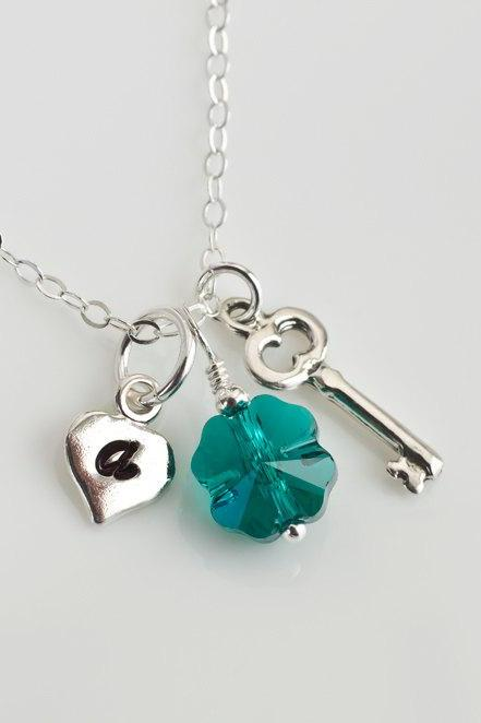 Sterling Silver Initial Necklace, Four Leaf Clover Necklace, Heart and Key Initial Necklace, Emerald Green Swarovski Clover Necklace