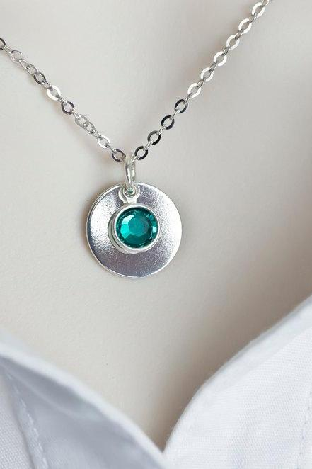 Birthstone Necklace, Sterling Silver Swarovski Birthstone Necklace
