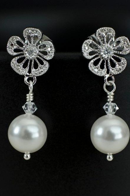 Bridal Earrings Bridesmaid Earrings Matte Rodium Plated Cubic Zirconia Ear Posts with White/Ivory Swarovski Pearl