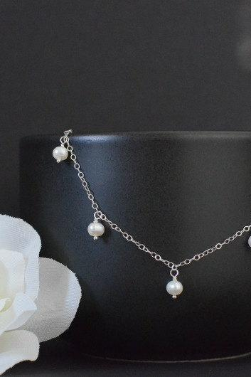 Freshwater Pearls Necklace Bride Bridesmaid Jewelry , Everyday Jewelry in Sterling Silver