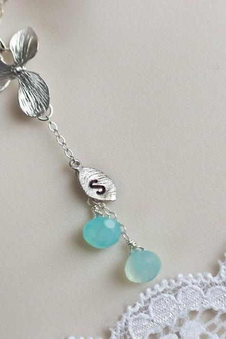 Personalized Necklace, Initial Necklace, Aqua Blue Chalcedony Necklace and Rhodium Plated Orchid Flower, Lariat Sterling Silver Necklace