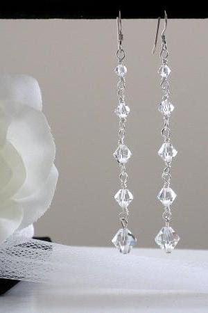 Sterling Silver and Swarovski Crystals Bridal Earrings