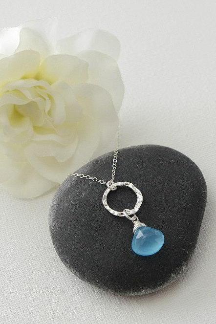 Aqua Blue Chalcedony Necklace, Aqua Blue Chalcedony and Sterling Silver Necklace