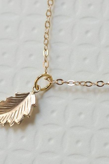 Gold Leaf Necklace, Gold Filled Leaf Necklace