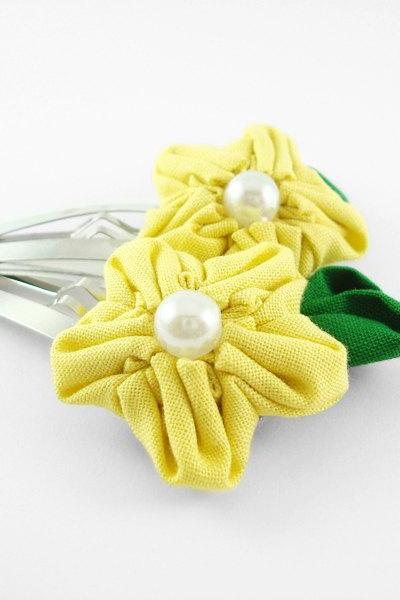 Yellow Fabric Flower Large Hair Clip with Pearl