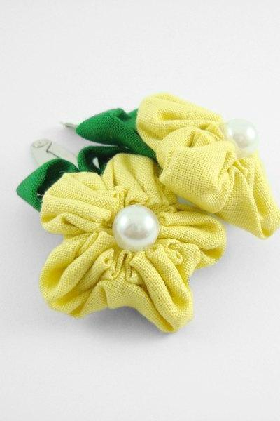 Yellow Fabric Flower Hair Clip with Pearl