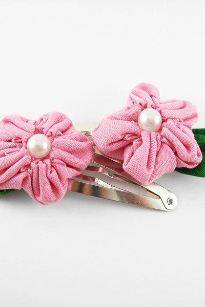 Pink Fabric Flower Large Hair Clip with Pearl