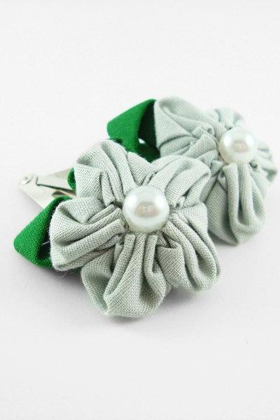Blue Fabric Flower Hair Clip with Pearl