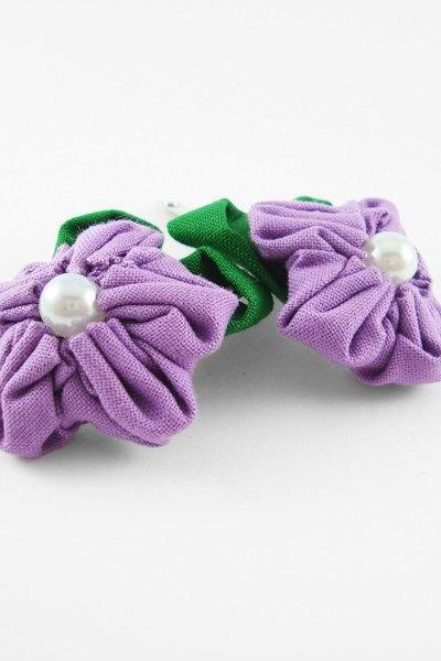 Purple Fabric Flower Hair Clip with Pearl