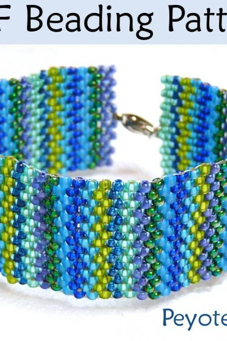 Beading Tutorial Pattern Bracelet - Peyote Stitch - Simple Bead Patterns - Peyote Ric Rac #1600