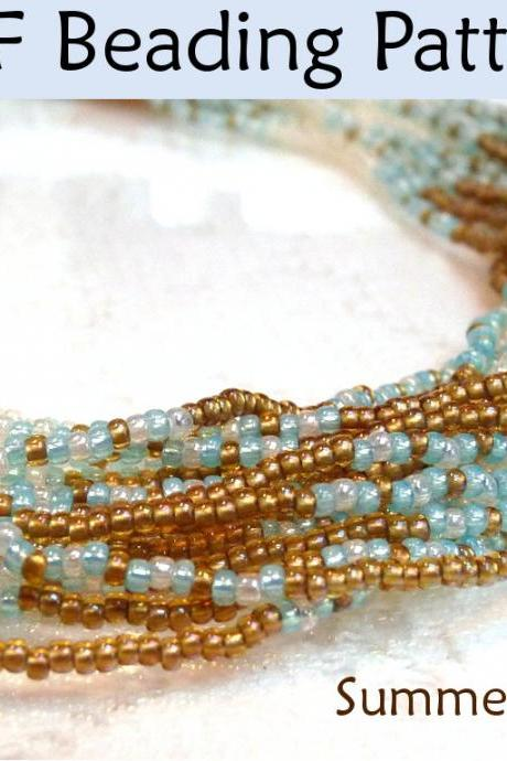 Beading Tutorial Pattern Multi-Strand Necklace - Netted Stitch - Simple Bead Patterns - Summer Breeze #1076