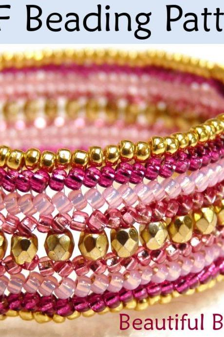 Bracelet Beading Tutorial Pattern - Flat Herringbone Stitch - Simple Bead Patterns - Beautiful Bollywood #1357