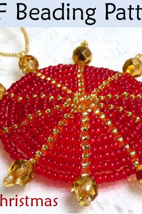 Beading Tutorial Pattern Christmas Ornament - Holiday Decoration - Simple Bead Patterns - Crafty Christmas Ornament #692