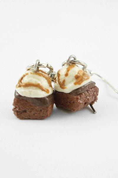 Miniature Brownie and Caramel Drizzle Ice Cream Earrings