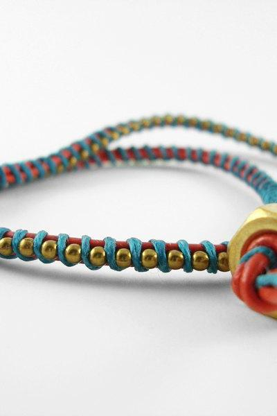 Red Orange and Teal Leather Double Wrapped Bracelet