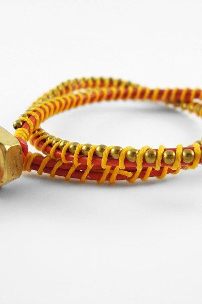 Red Orange and Yellow Leather Double Wrapped Bracelet