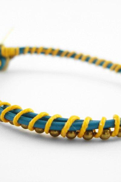 Teal and Yellow Leather Single Wrapped Bracelet