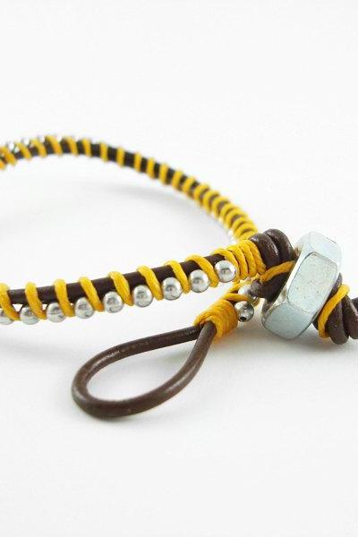 Brown and Yellow Leather Single Wrapped Bracelet