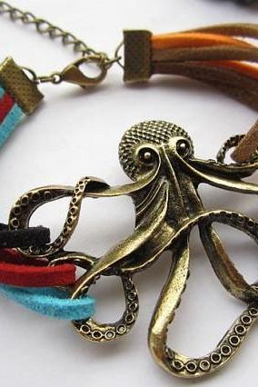 Fashion Classic Leather Strap octopus Woman Bracelet