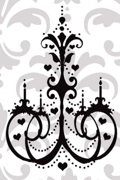 Pretty Heart Chandelier Vinyl Decal
