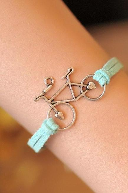 Bracelet, bike bracelet,retro silver love bike,alloy bracelet, blue leather braid bracelet