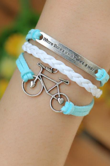 Bracelet, bike bracelet,retro silver love bike,alloy bracelet, blue leather braid bracelet,engraved where there is a will there is a way
