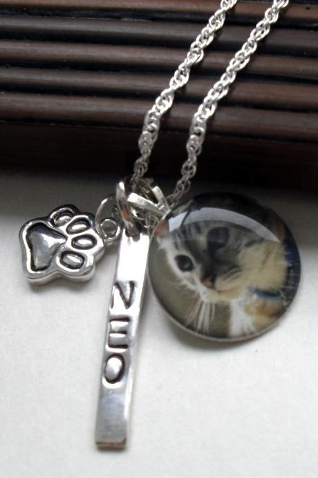 Pet Photo Necklace Hand Stamped
