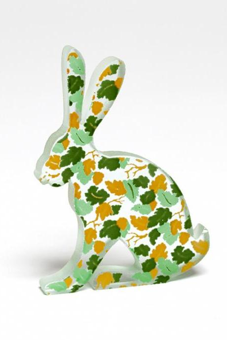 Leaves Hare Glass Painted Sculpture