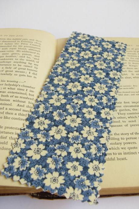 Blue and Cream Floral fabric bookmark